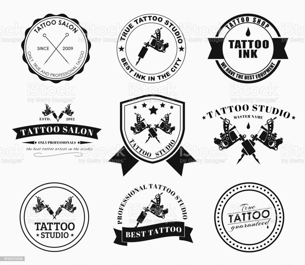 Set Tattoo Logos Of Different Styles Stock Illustration Download Image Now Istock Tattoos are trendy, and creative tattoo studios are springing up. https www istockphoto com vector set tattoo logos of different styles gm610421046 104761385