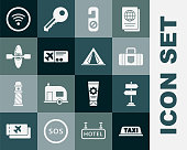istock Set Taxi car roof, Road traffic sign, Suitcase, Please do not disturb, Airline ticket, Kayak or canoe, Wi-Fi wireless internet network and Tourist tent icon. Vector 1337007790
