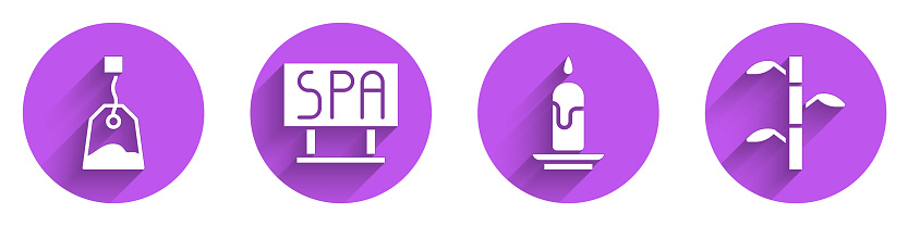 Set Tea bag, Spa salon signboard, Burning candle and Bamboo stems with leaves icon with long shadow. Vector