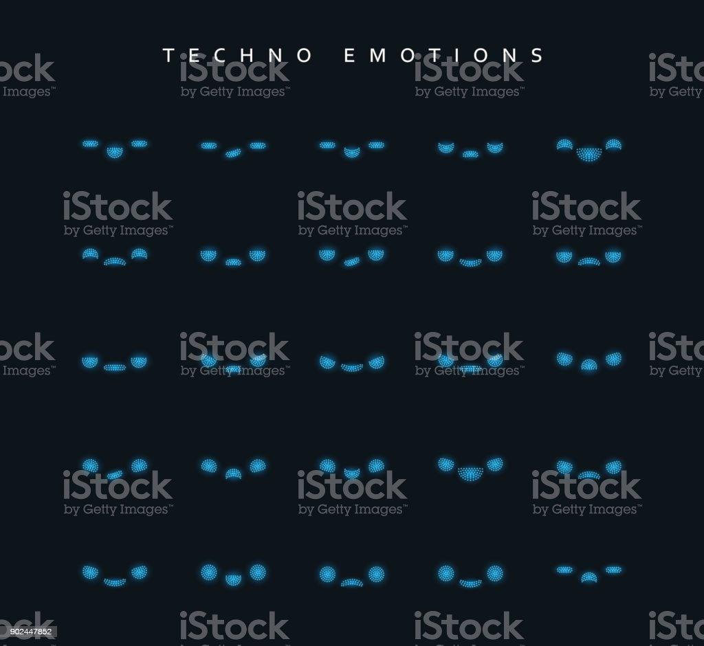文字を作成するテクノ感情を設定します。 ベクターアートイラスト