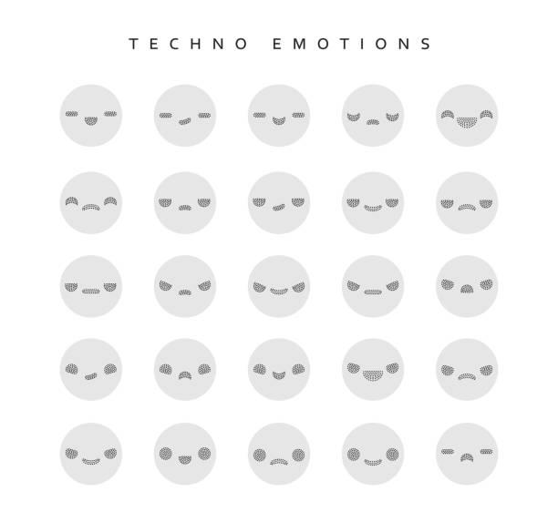 ilustraciones, imágenes clip art, dibujos animados e iconos de stock de set techno emociones para crear personajes. - emoji celoso