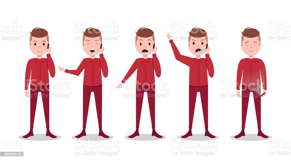 Set Teen Boy Character Different Poses And Emotions Phone Call Male ...
