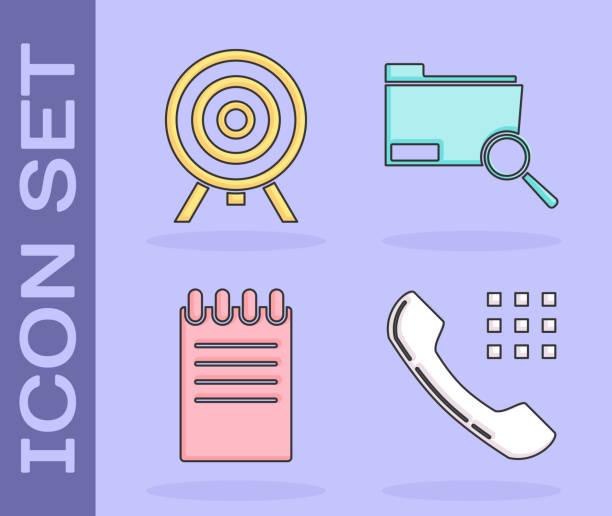 stockillustraties, clipart, cartoons en iconen met stel het concept telefoontelefoon, doel, notitieblok en zoek in met mappictogram. vector - call center