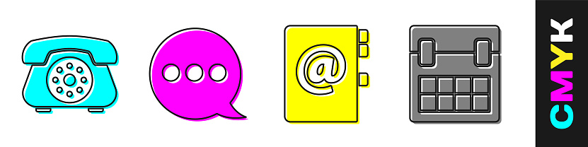 Set Telephone, Speech bubble chat, Address book and Calendar icon. Vector