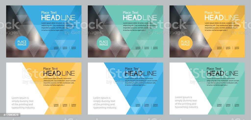 ソーシャル メディアや web バナーの背景プレゼンテーション、パンフレット、書籍カバー レイアウト、チラシで使用セット テンプレート デザイン ベクターアートイラスト