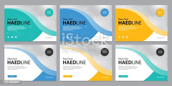 istock set template design for social media post and web banners background, with use in presentation, brochure, book cover layout, 1264968957
