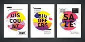 Set template design of sale and offer banner.  Abstract modern  graphic circle elements. Flyer with dynamical gradient color around forms and line. Cover with background flowing liquid shapes. Vector.