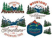 set vector template in retro style with mountains spruces forest