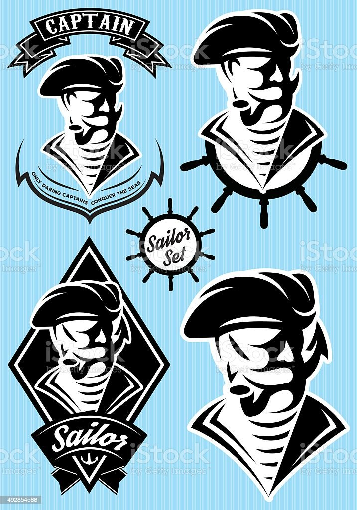 set  template in retro style with pirate vector art illustration