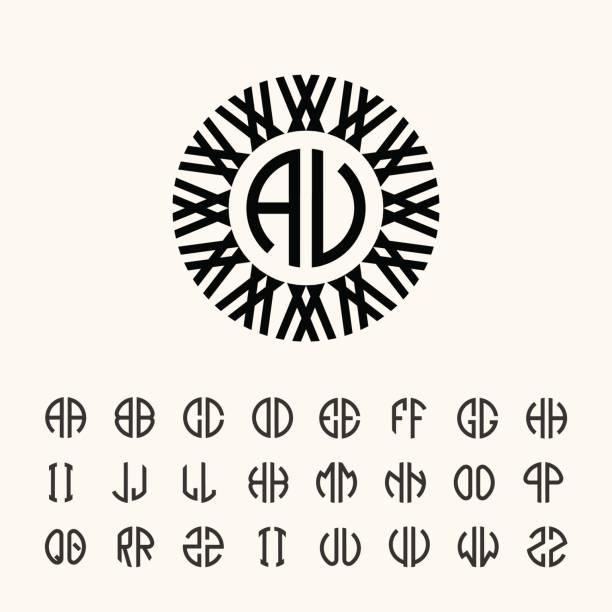 eingestellte vorlage briefe erstellen monogramme der beiden buchstaben in beschrieben in einem kreis im jugendstil - couture stock-grafiken, -clipart, -cartoons und -symbole