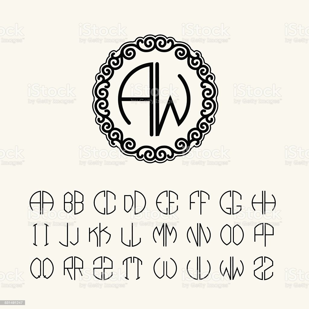 Set  template  monograms of two letters Art Nouveau style vector art illustration