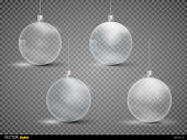Set template of glass transparent Christmas balls. Stocking element christmas decorations. Transparent vector object for design. Shiny toy with silver glow. Isolated object. Vector illustration.