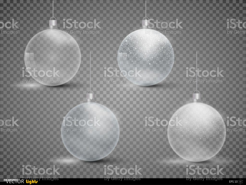 Set template of glass transparent Christmas balls. Stocking element christmas decorations. Transparent vector object for design. Shiny toy with silver glow. Isolated object. Vector illustration. vector art illustration