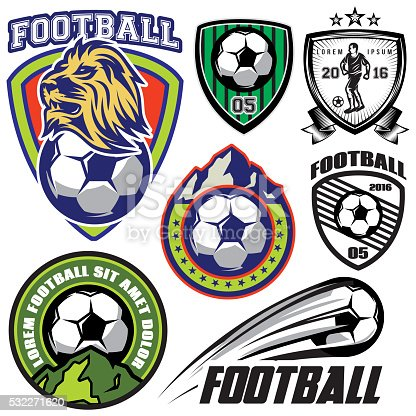 set vector template sports logos and design elements on a theme football