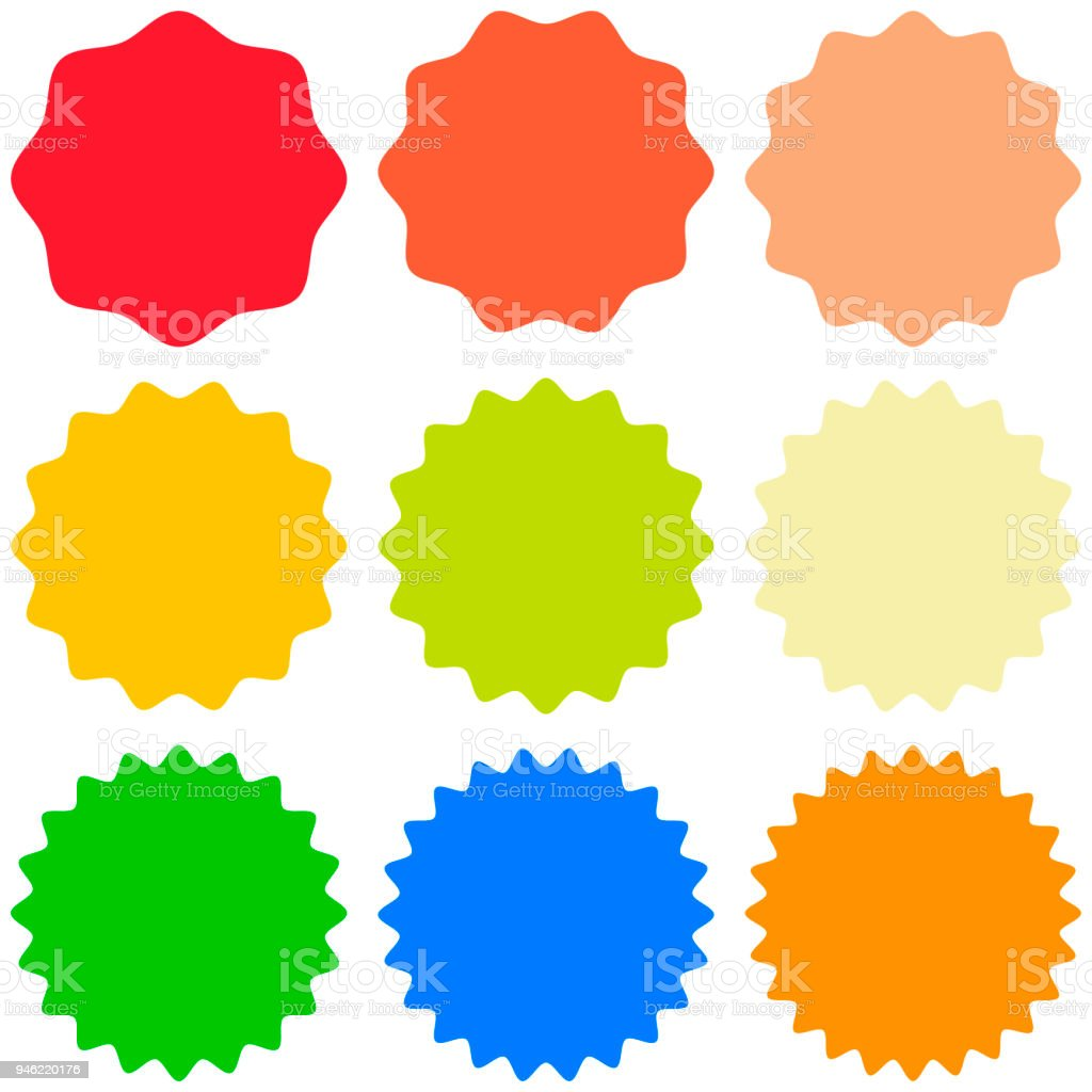 Set Template Sunburst Shapes Badges Vector Starburst Promo Burst For