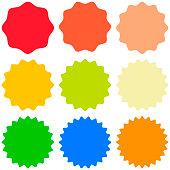 Set template sunburst icons, shapes badges vector starburst promo  burst, for design sticker promo starburst