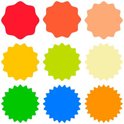 Set template sunburst, shapes badges vector starburst promo  burst, for design sticker promo burst