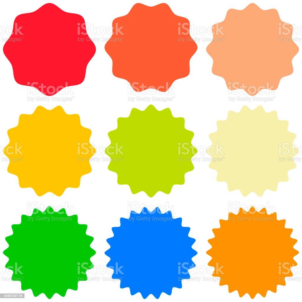 Gabarit de jeu sunburst, formes badges vecteur étoile promo, salines pour conception autocollant promo burst - Illustration vectorielle