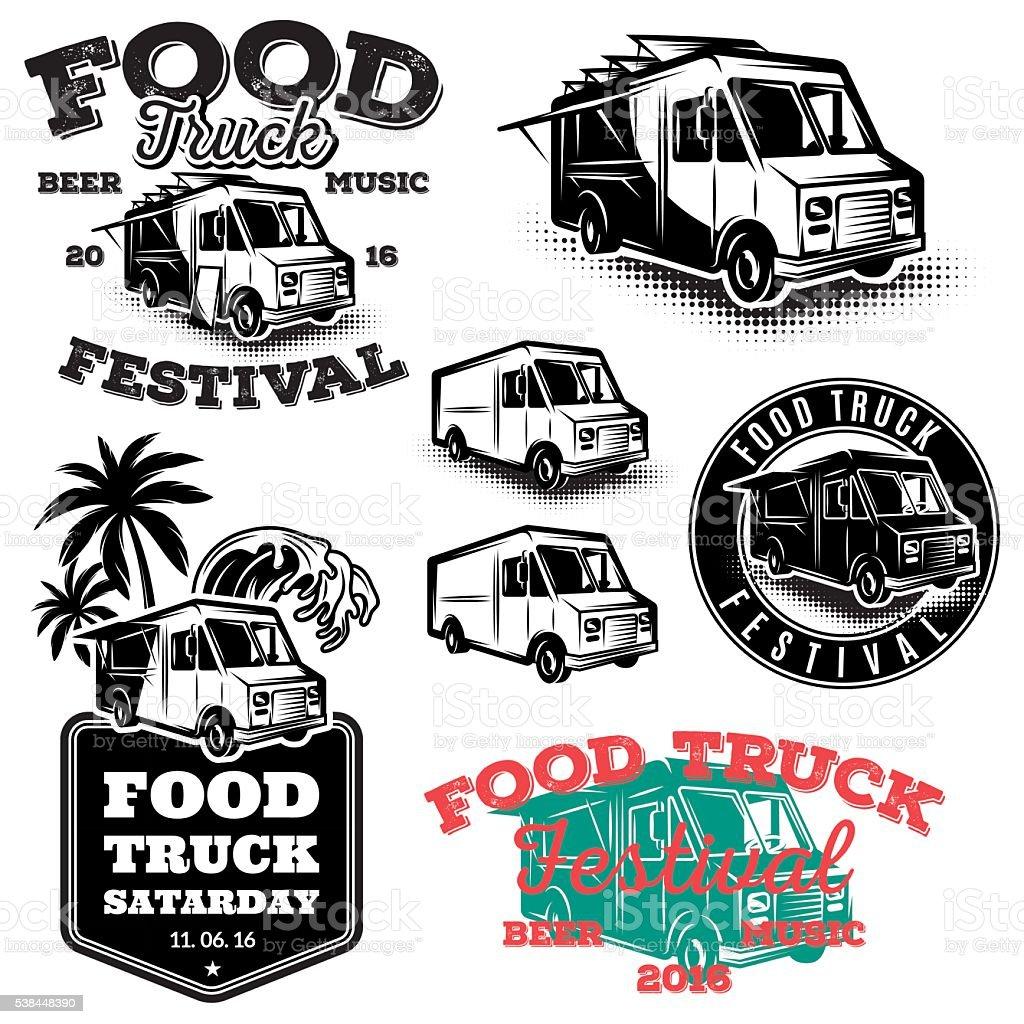 set templates, design elements, vintage style emblems for food truck vector art illustration