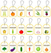 Labels with various vegetables and inscriptions. Set templates price tags for markets and shop of organic food. Vector illustration