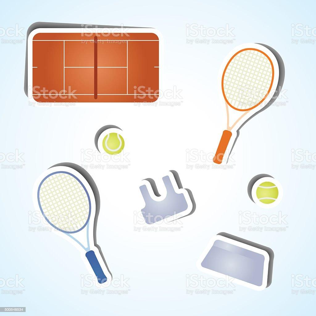 Set tennis icons vector art illustration