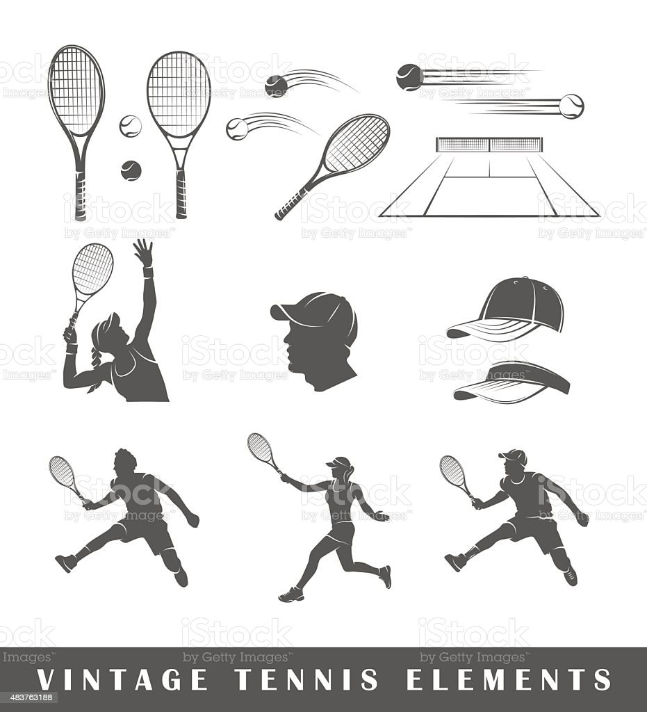 Set tennis silhouettes vector art illustration