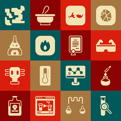Set Test tube and flask, Safety goggle glasses, Broken, Fire flame, on fire, Gaseous and Certificate template icon. Vector