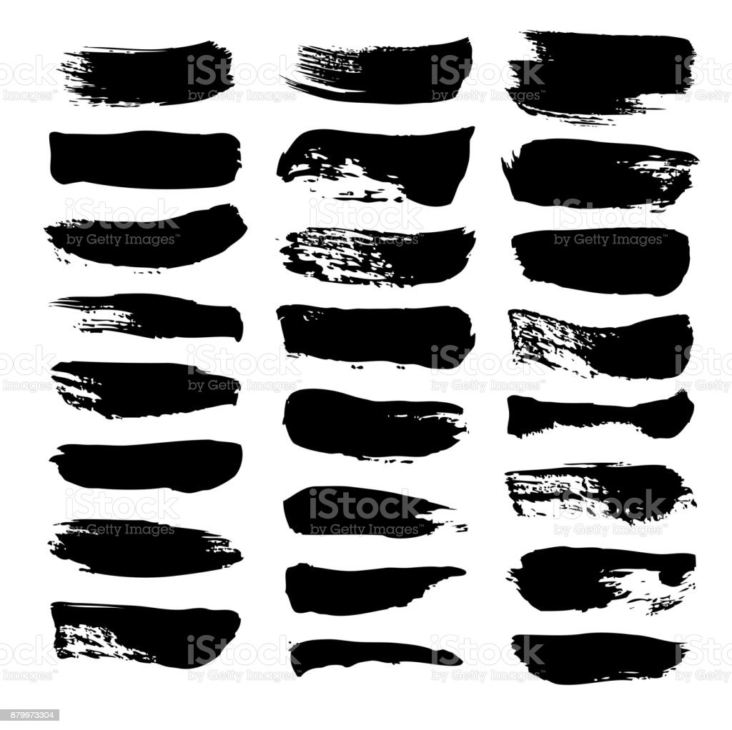 Set texture strokes thick black gouache paint isolated on a white background vector art illustration