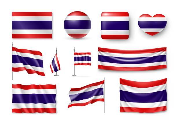 Set Thailand-Flags, Banner, Fahnen, Symbole, flach-Symbol – Vektorgrafik