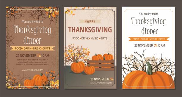 set thanksgiving greeting cards and invitations with pumpkin. - thanksgiving dinner stock illustrations