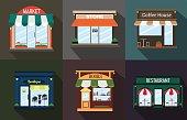 Set the facade of a restaurant, shop, coffee , book ,  boutique.