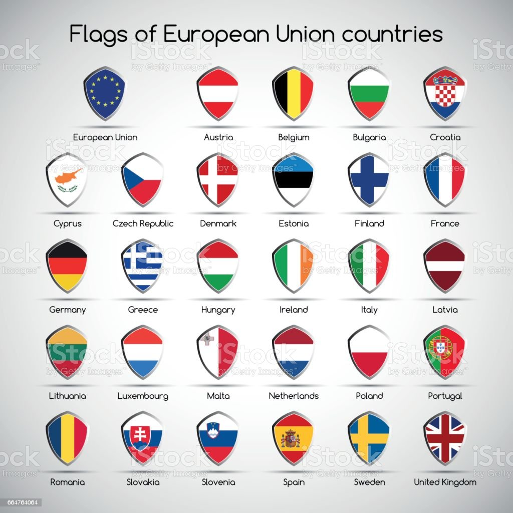 Set the flags of European Union countries, symbol shield for your infographic vector art illustration