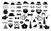 Set the party, the person's face fake. Glasses, hats, lips, mustaches, tie, monocle, icons. vector illustration