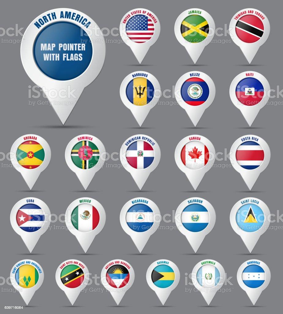 Set the pointer to the map with the flag of - ilustração de arte em vetor