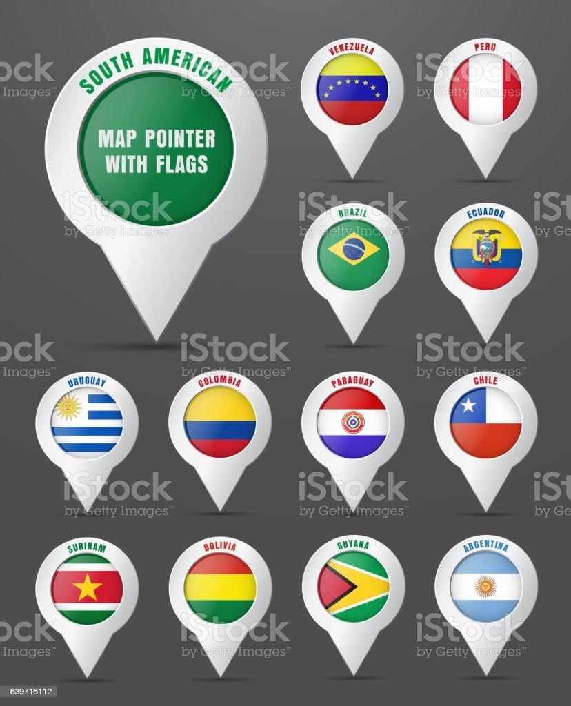 Set the pointer to the map with the flag of - ilustración de arte vectorial