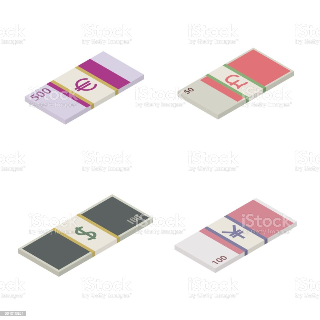 Set the stack of paper money world currencies, vector illustration. vector art illustration