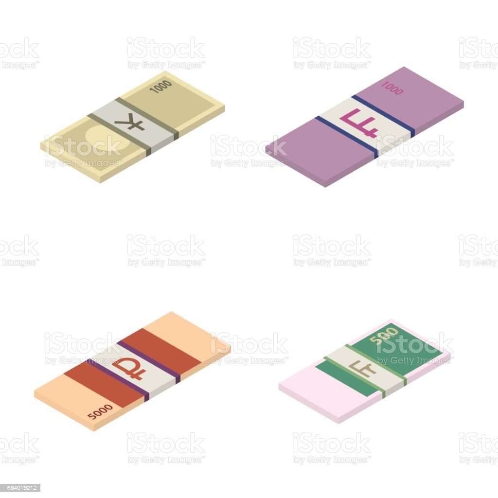 Set the stack of paper money world currencies, vector illustration. vector art illustration