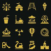 Set Theme Park Icons-Gold Series