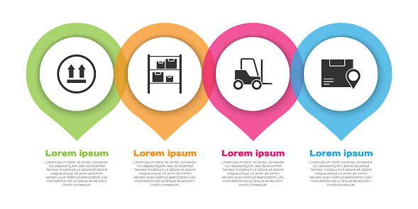 Set This side up, Warehouse, Forklift truck and Location with cardboard box. Business infographic template. Vector