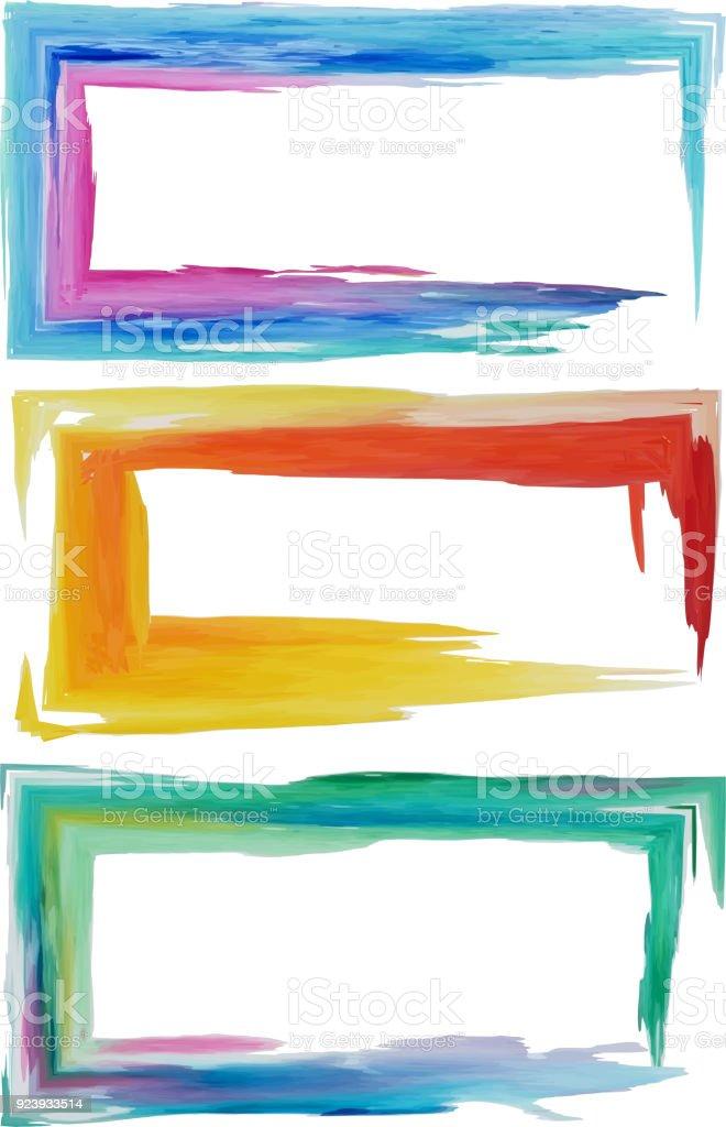 Set Three Horizontal Rectangular Frames Watercolor Stock Vector Art ...