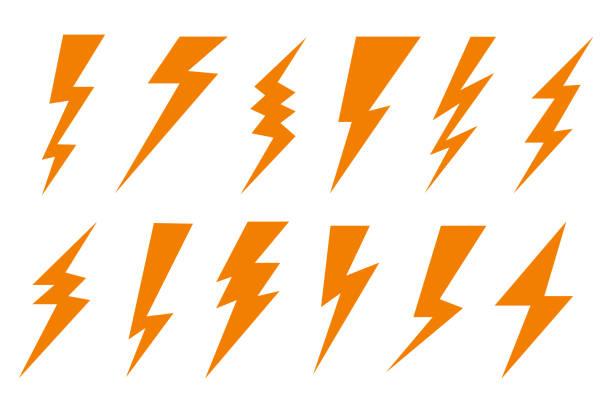 set thunder and bolt lighting flash icon. electric thunderbolt, lightning bolt icon, dangerous sign – stock vector - lightning stock illustrations