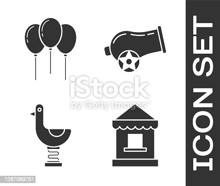 Set Ticket box office, Balloons with ribbon, Riding kid duck and Cannon icon. Vector