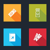 Set Ticket, Bus ticket, Cover book travel guide and Train icon. Vector.
