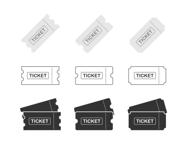 stockillustraties, clipart, cartoons en iconen met stel ticket icoon op witte achtergrond. vector illustratie. - ticket