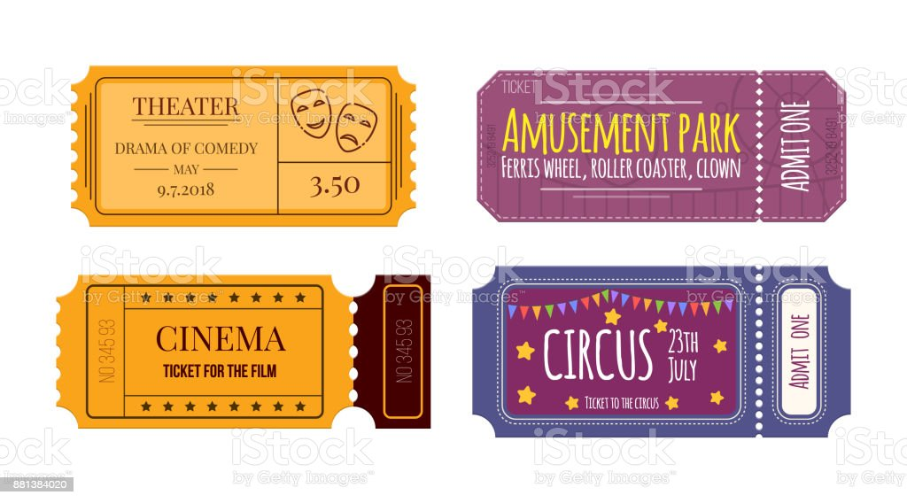 Set tickets and coupons in theater, cinema, circus, amusement park