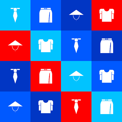 Set Tie, Skirt, Asian conical hat and Long sleeve shirt icon. Vector