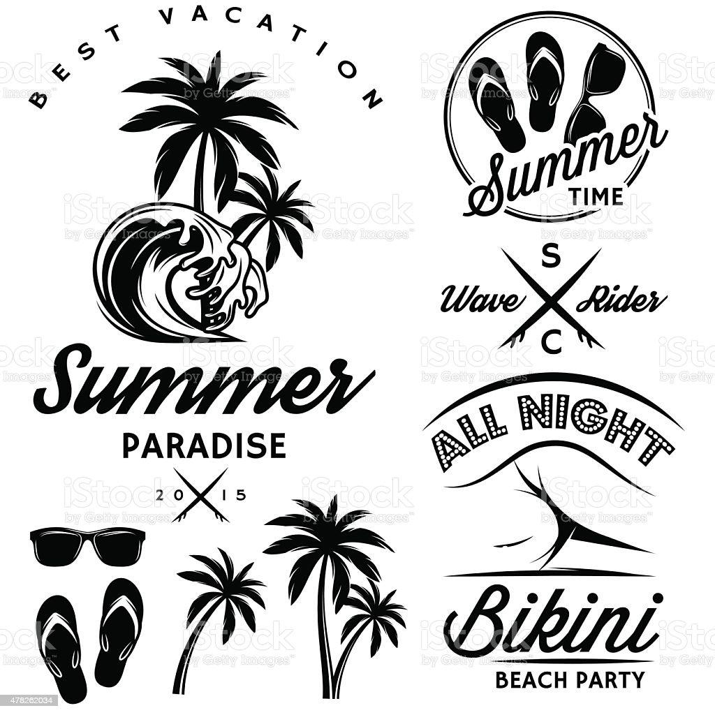 set to topic summer with bikini party, sunglasses, flip-flops vector art illustration