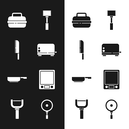 Set Toaster, Knife, Cooking pot, Kitchen hammer, Frying pan, Electronic scales, and Peeler icon. Vector