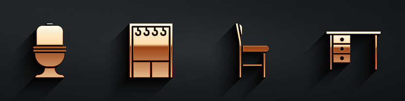 Set Toilet bowl, Wardrobe, Chair and Office desk icon with long shadow. Vector