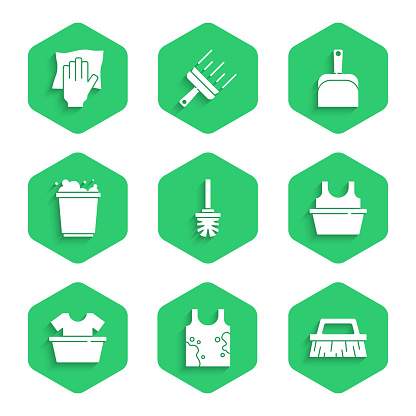 Set Toilet brush, Dirty t-shirt, Brush for cleaning, Basin with, Bucket foam, Dustpan and Cleaning service icon. Vector